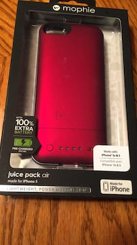 red Mophie juice pack air for iPhone 5 package