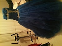 Women's blue and gold ball gown