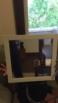white wooden square framed glass wall mirror Morgantown, 26505