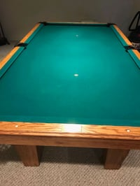 custom billiards table with sticks, balls and stand green felt..