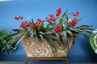 Bronze Metal Planter w/ Artificial Flowers Ashburn