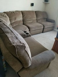 Brown sectional 3 recliners 1 automatic, 2 manual, Cedar Park, 78613
