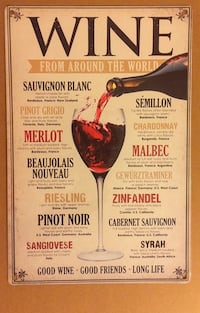 New Metal Sign About Wines 550 mi
