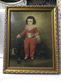 Picture in gold frame of little boy with cats and bird Hudson, 34669