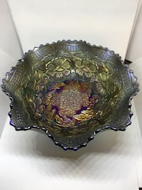 """Antique Fenton 7.5"""" Cobalt Blue """"Two Flowers"""" Carnival Glass Spatula Footed Bowl Grovetown"""