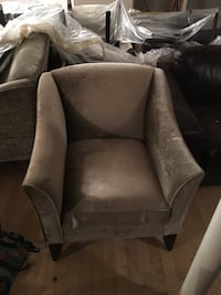 2 brown velvet sofa chair