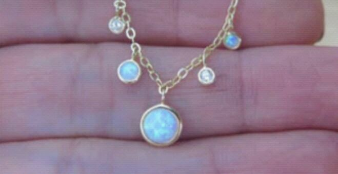 Photo Sterling Silver CZ Opal Gold Chain Pendant Necklace