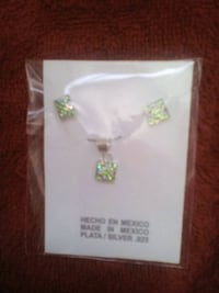 silver-colored green gemstone pendant and stud earring pack Atlanta, 30329