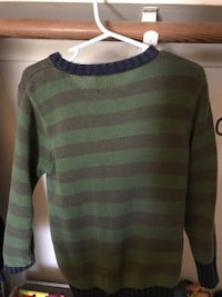 green and gray striped sweater 2224 mi