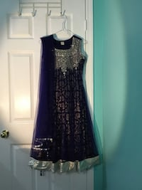 Beautiful blue and dull sliver sleeveless dress with net and jamawaar lining Mississauga, L5W 1E2