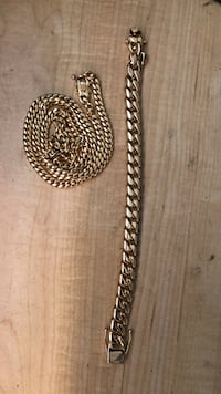 Gold cuban chain bracelet and necklace stainless steel