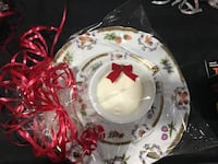 Teacup candle with saucer and dessert plate with scented candle