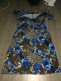 blue, white, and black floral sleeveless dress Regina, S4S 4G2