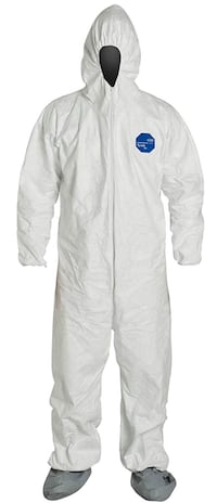 DuPont Tyvek Protective Coverall with Hood and Boots Pack of 25 Size L