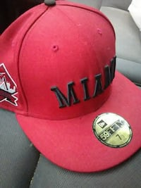 red Miami embroidered fitted cap