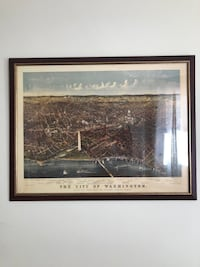 Large framed print of vintage DC map from 1800s Washington, 20002