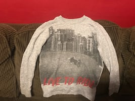 Live to ride grey sweater size 6x
