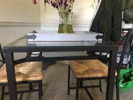 Glass table top and 2 chairs