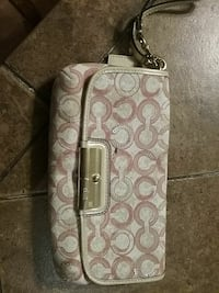 gray and brown monogram Coach leather crossbody bag