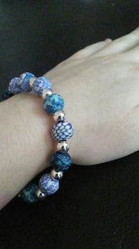 Blue and white clay bead braclet Halifax, B3K