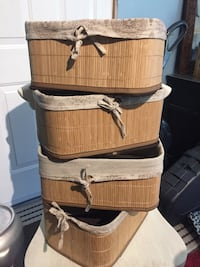 Collapsible linen and bamboo storage baskets Tweed, K0K 3J0