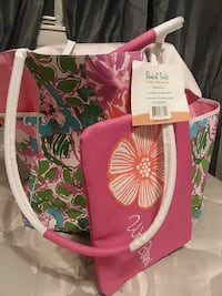 pink, white and green Beach tote bag Augusta, 30906
