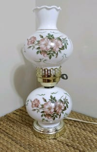 Vintage Hurricane lamp with dusty pink flowers
