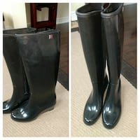 black wedge wellington boots collage