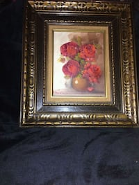pink and white flower painting with brown wooden frame Montréal, H8N 1R8