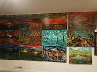 three brown and green abstract paintings Fort Smith, 72903
