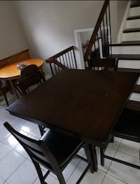 FREE DELIVERY-MODERN HIGH DINING TABLE SET+4 LEATHER CHAIRS -GOOD COND