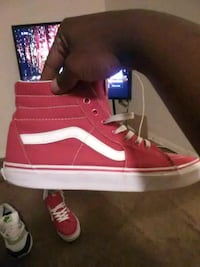 unpaired red and white Vans high top sneaker Baltimore, 21218