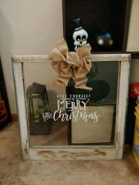 Chestmas decor made out of old barn window  Minot