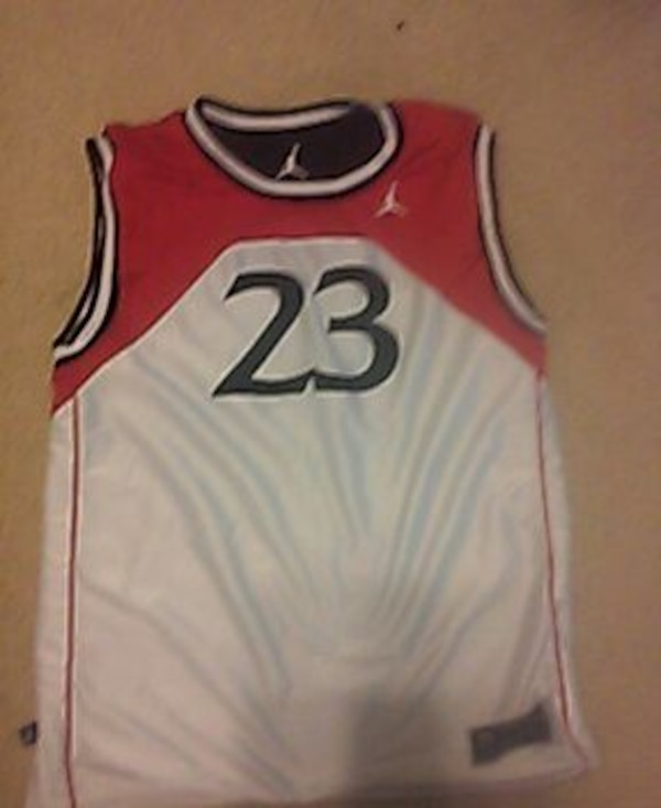 newest 1b776 18be4 white and red Air Jordan 23 jersey shirt