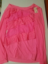 Brand New Pink Long Sleeve Blouse Justice -Size 20 2159 mi