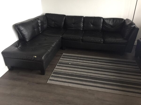Used Black Faux Leather Sectional Couch For Sale In