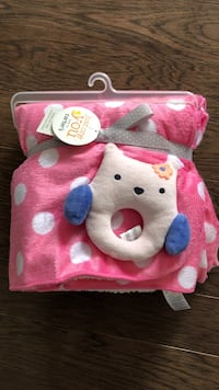 Carters baby blanket with rattle- never used!