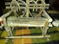 brown wooden bench with table