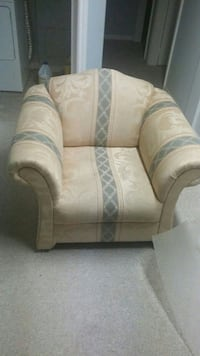 beige and grey fabric sofa chair