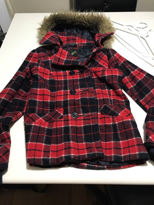 red and black plaid winter jacket