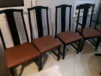 Six dining chairs set,gloss frame, new leather top. Toronto, M1T 2S1