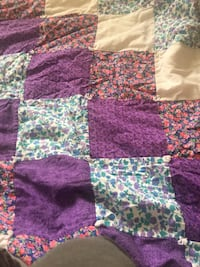 Purple, brown , and blue floral checkered comforter
