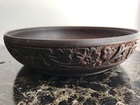 Antique walnut wood bowl