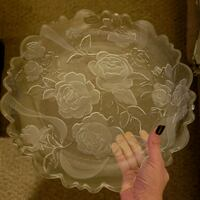 Rose Etched serving plate Reading, 19606
