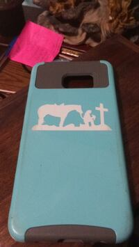 white and teal iPhone case Dale, 47523