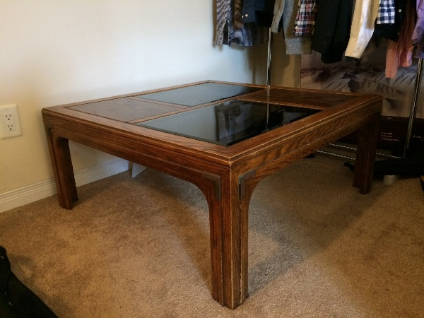 Aged Coffee Table Made of Solid Wood