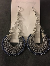 Long Drop Silver Tone with Blue Trim Earrings Cocoa, 32926