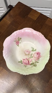 antque hand pained rose bowl 10x3 Dresden China #995  College Station, 77845