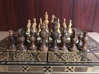 Hand carved chess set from Israel Washington, 20001