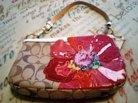 red and white floral leather bag 1407 mi
